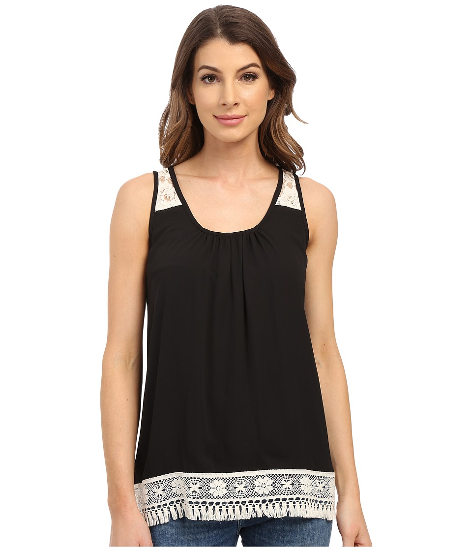 Karen Kane - Sleeveless Lace Trim Top (Black) Women's Sleeveless