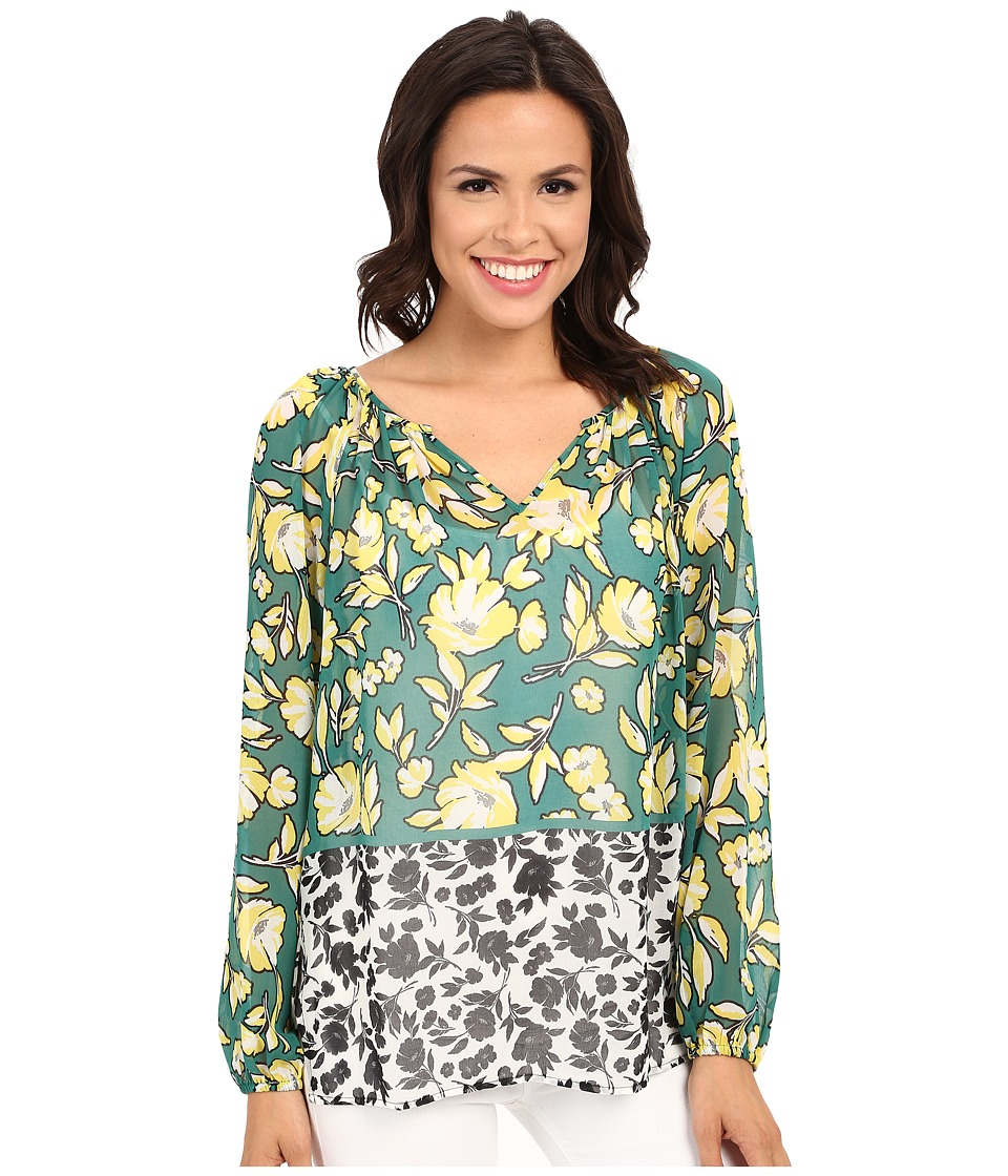 Karen Kane - Citrus Floral Peasant Top (Print) Women's Clothing