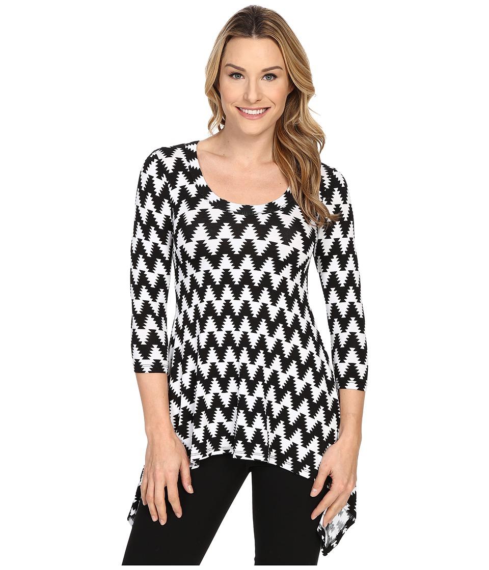 Karen Kane - Print 3/4 Sleeve Handkerchief Top (Print) Women's T Shirt