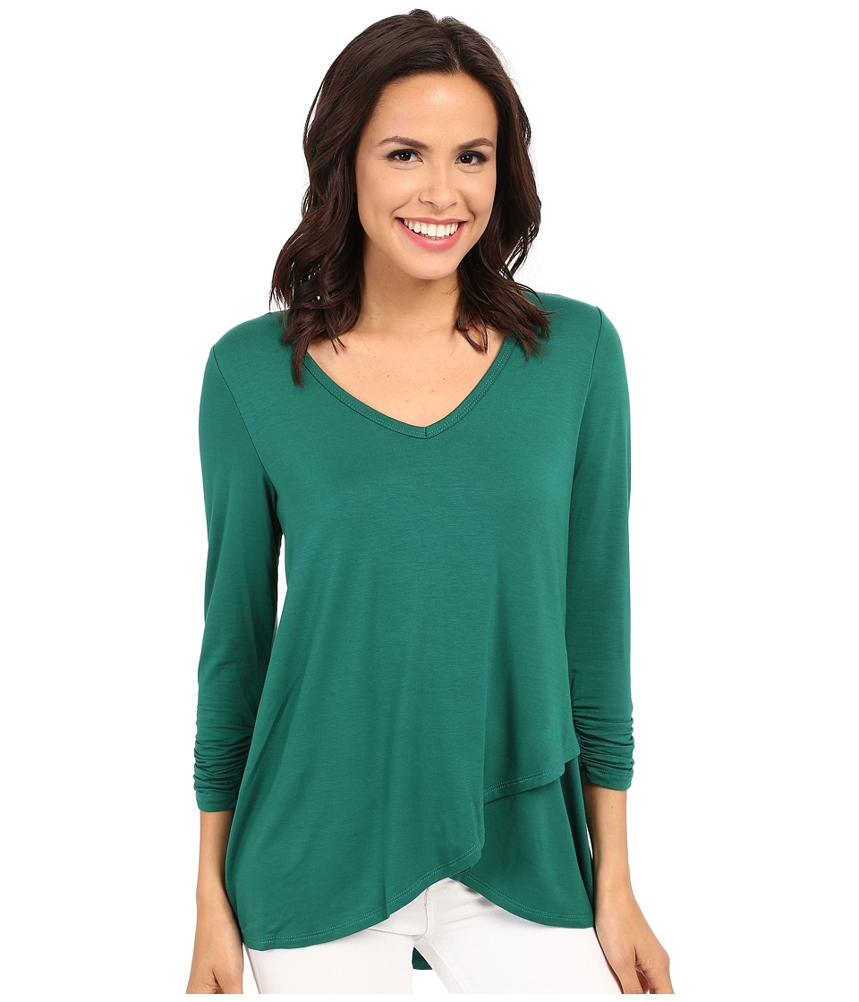 Karen Kane - Ruched Sleeve Asymmetrical Hem Top (Green) Women's Clothing