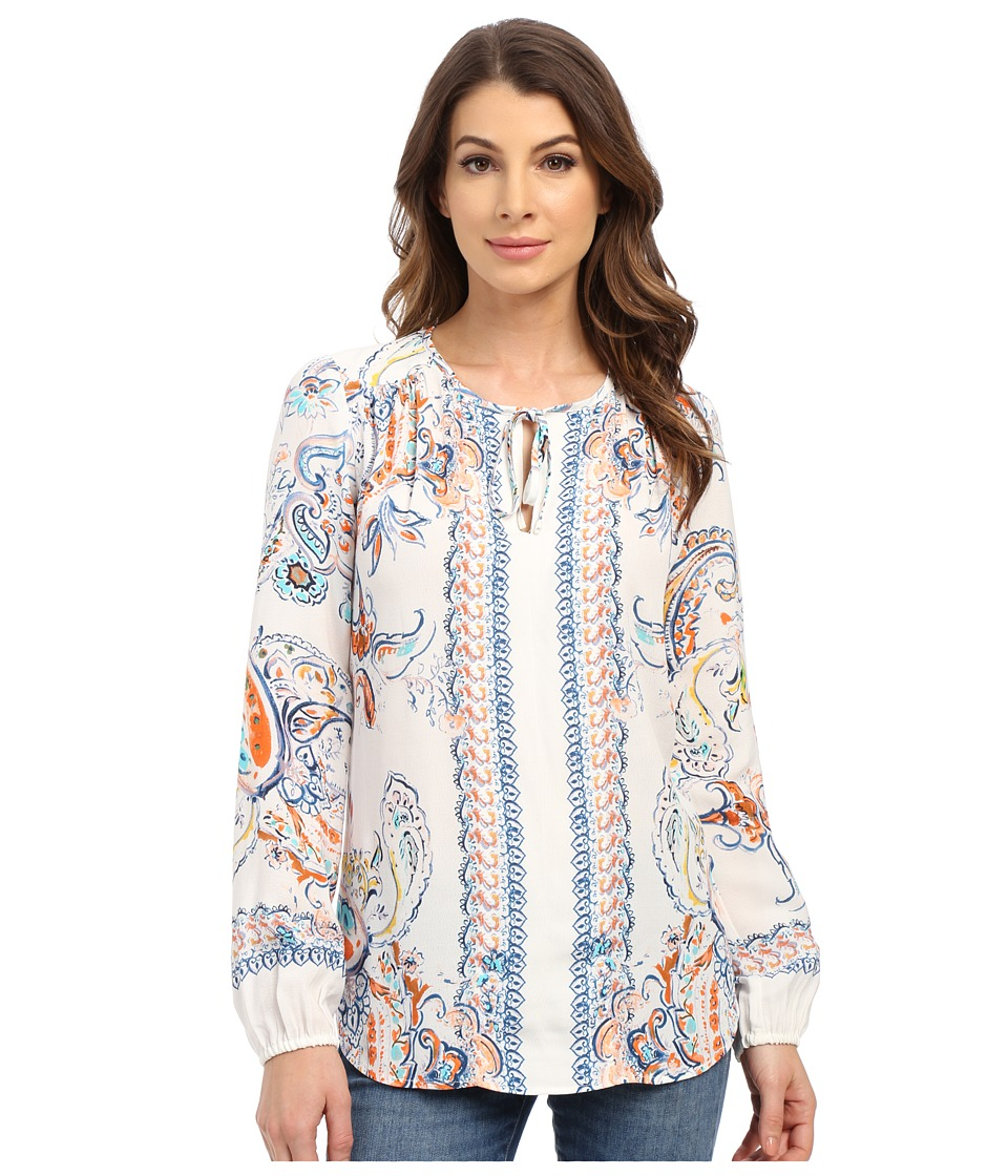 Karen Kane - Split-Placket Tie-Front Top (Print) Women's Clothing