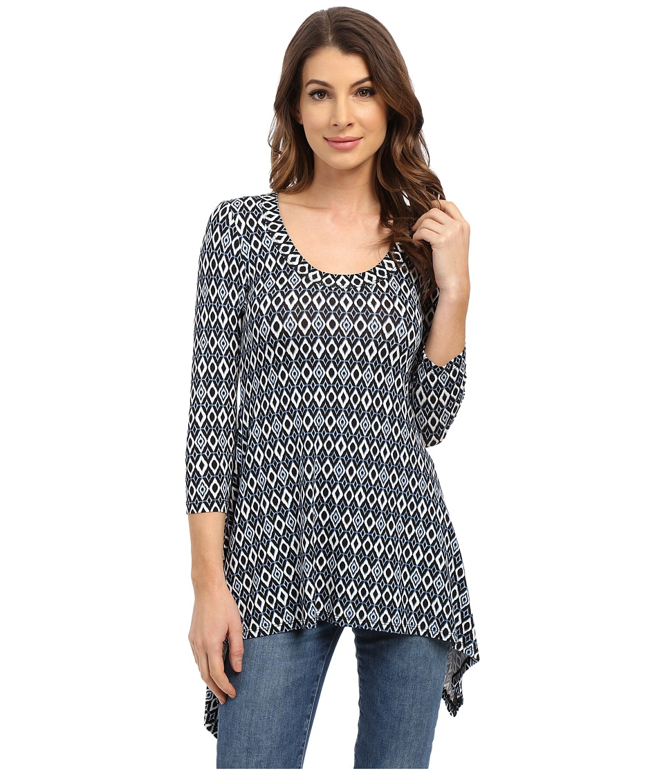 Karen Kane - Diamond Stripe Handkerchief Top (Print) Women's Clothing