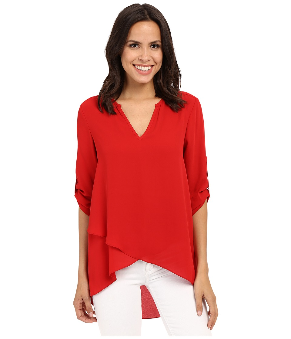Karen Kane - Asymmetrical Hem Wrap Top (Fire) Women's Clothing