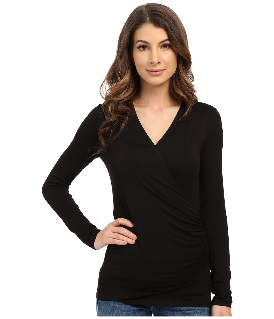 Karen Kane - Long Sleeve Faux Wrap Top (Black) Women's Blouse