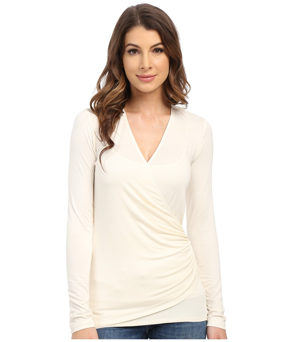 Karen Kane - Long Sleeve Faux Wrap Top (Cream) Women's Blouse