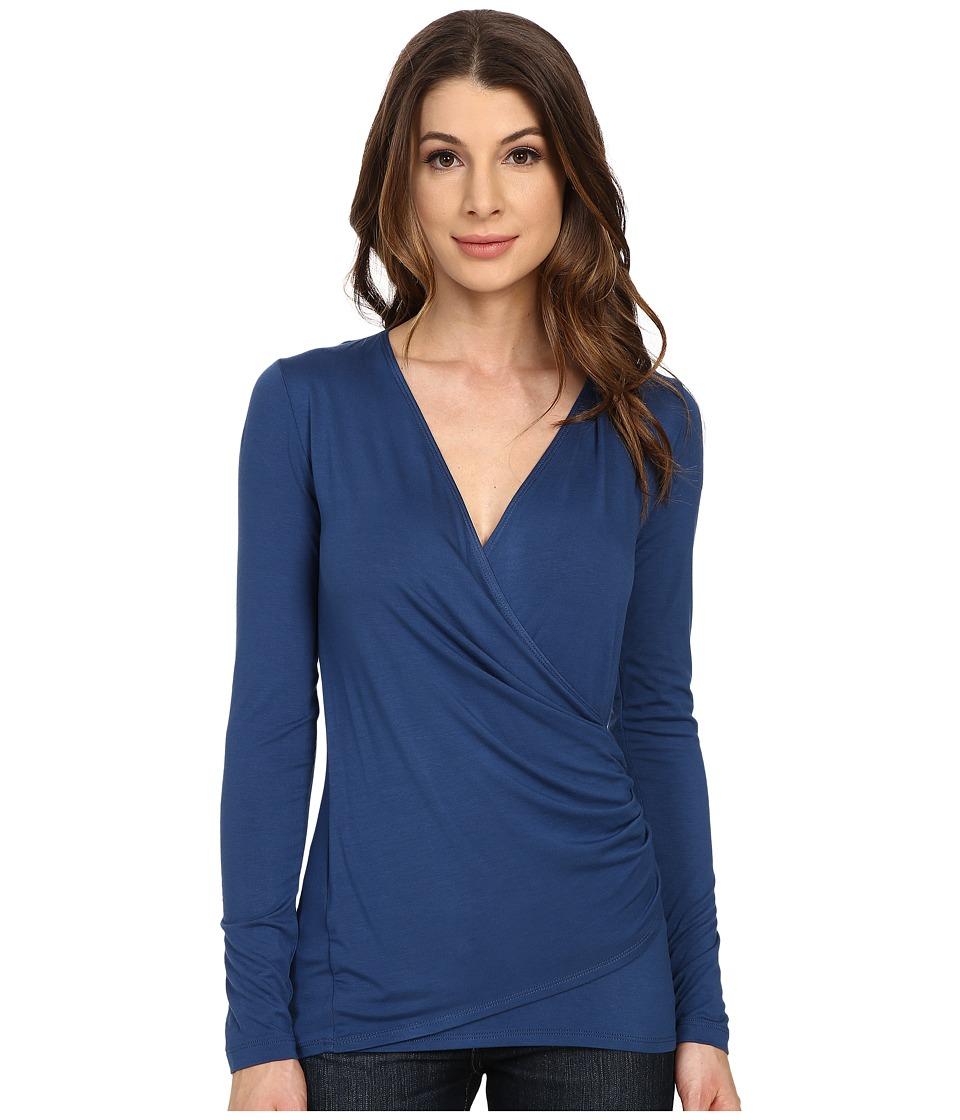 Karen Kane - Long Sleeve Faux Wrap Top (Marine Blue) Women's Blouse
