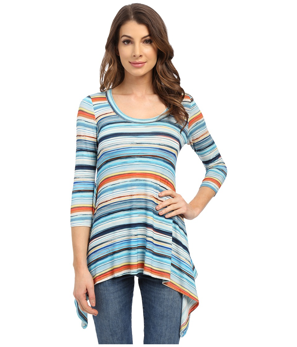 Karen Kane - Sunrise Stripe Handkerchief Top (Print) Women's T Shirt