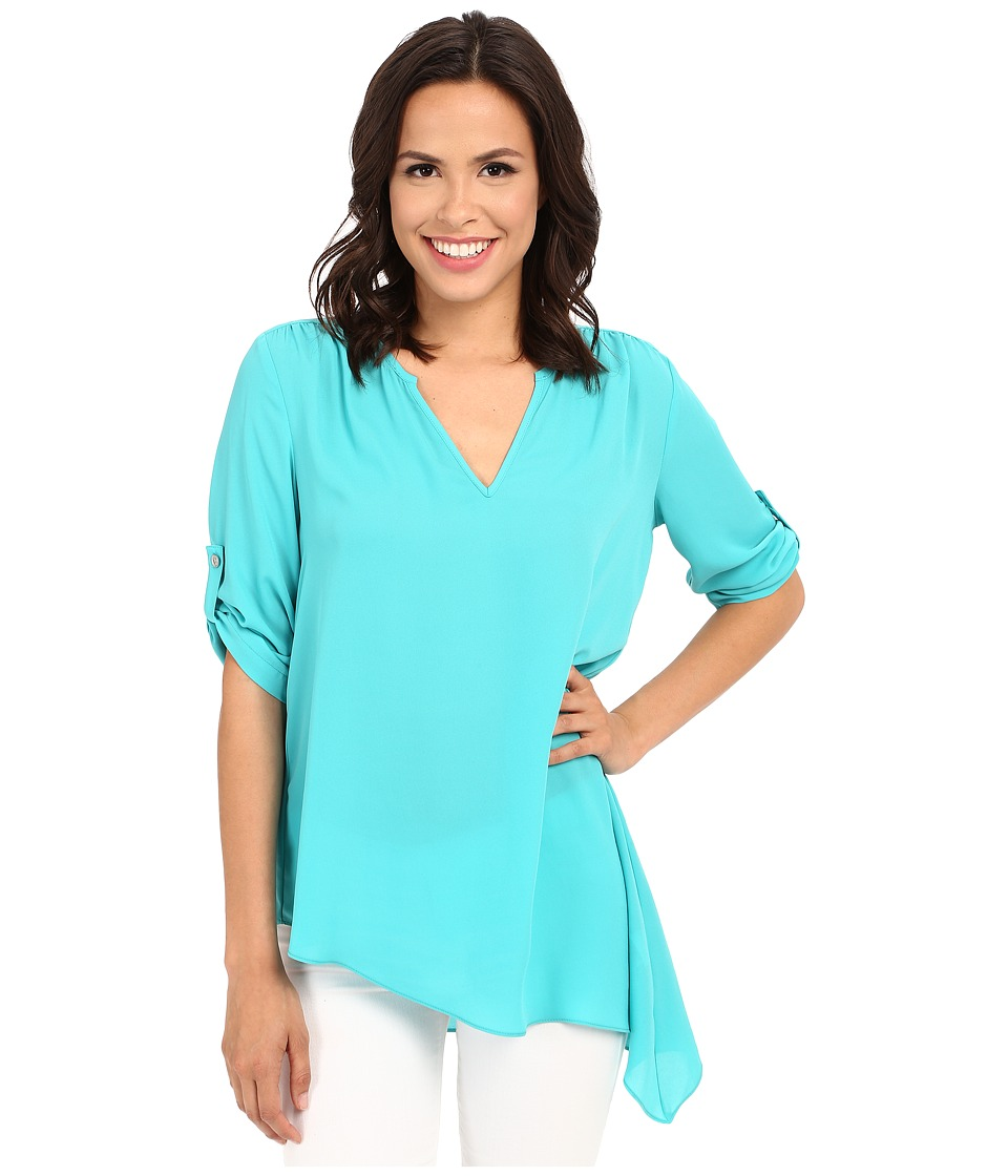Karen Kane - Roll-Tab Asymmetrical Top (Turquoise) Women's Clothing