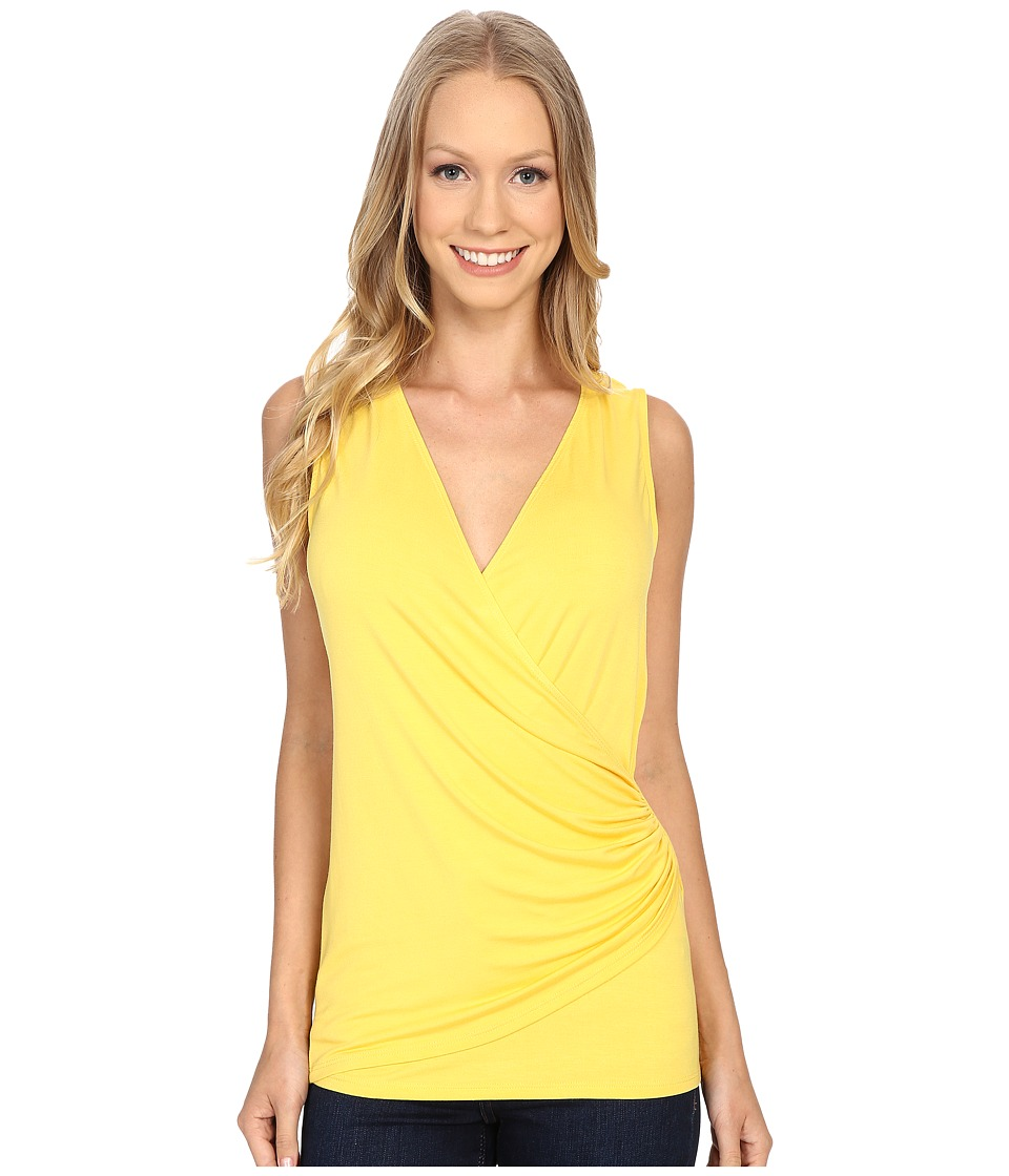 Karen Kane - Sleeveless Faux Wrap Top (Yellow) Women's Sleeveless