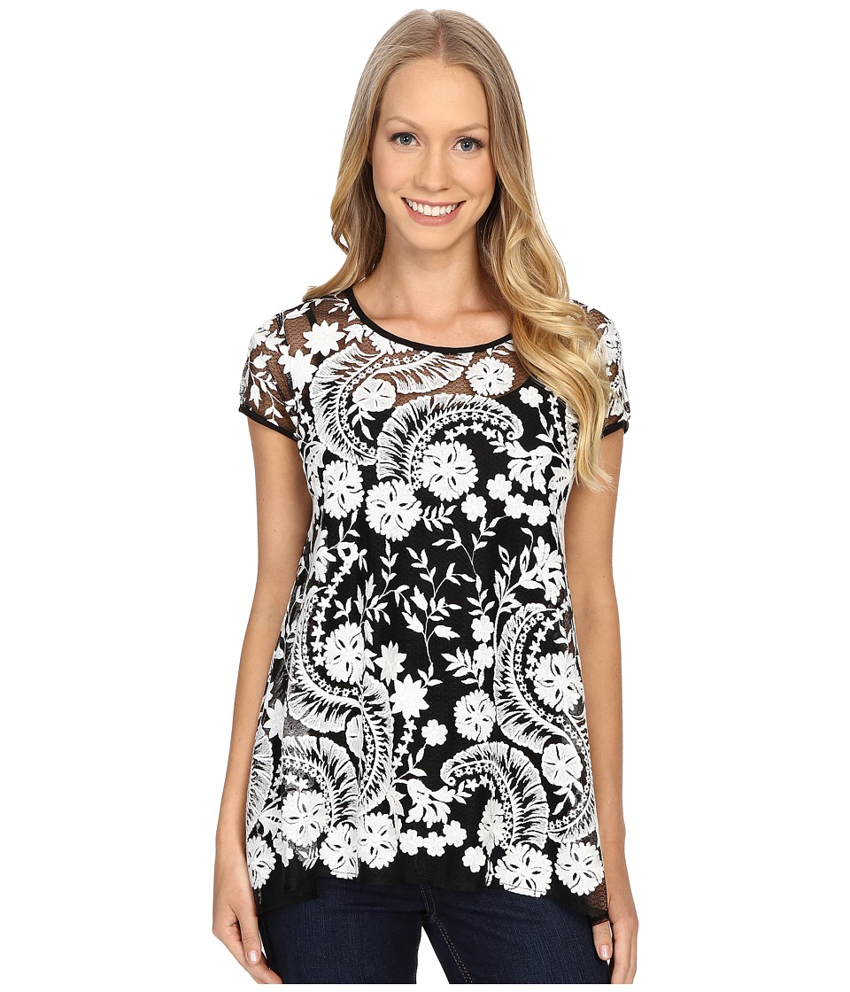 Karen Kane - Embroidered Lace Flare Top (Black/Cream) Women's Blouse