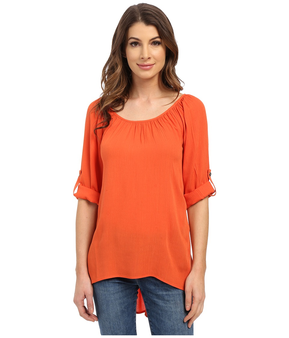 Karen Kane - Roll-Tab Hi-Lo Top (Orange) Women's Clothing