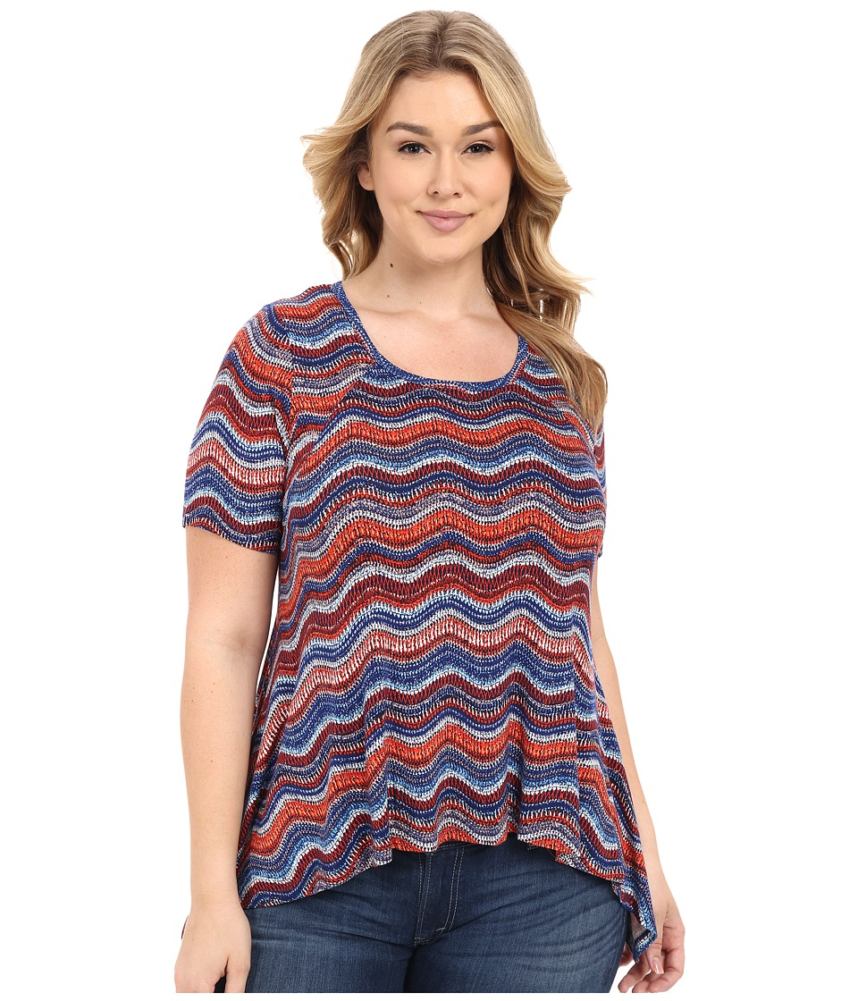Karen Kane Plus - Plus Size Wavy Print Handkerchief Top (Print) Women's Clothing