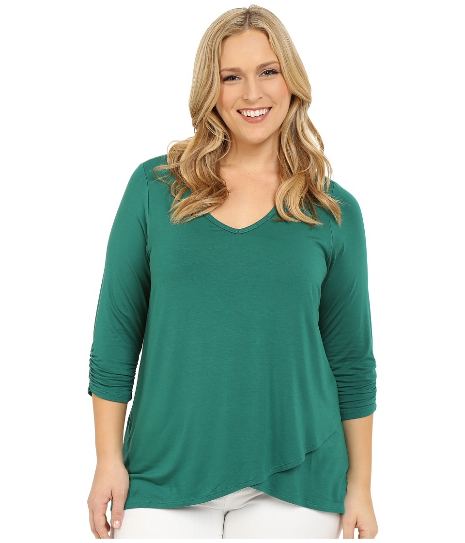 Karen Kane Plus - Plus Size Ruched Sleeve Asymmetrical Hem Top (Green) Women's Long Sleeve Pullover plus size,  plus size fashion plus size appare