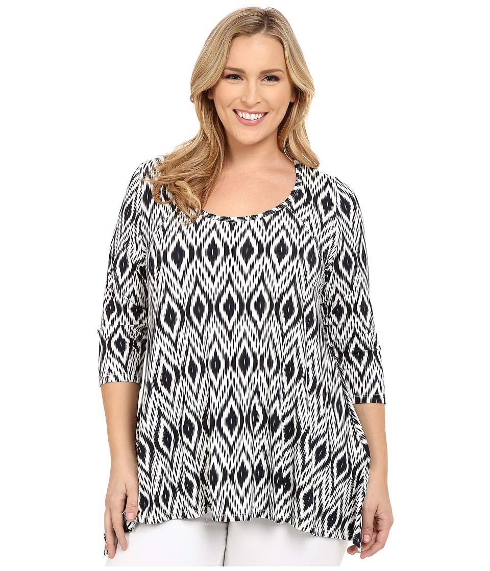 Karen Kane Plus - Plus Size Print 3/4 Sleeve Handkerchief Top (Print) Women's Clothing