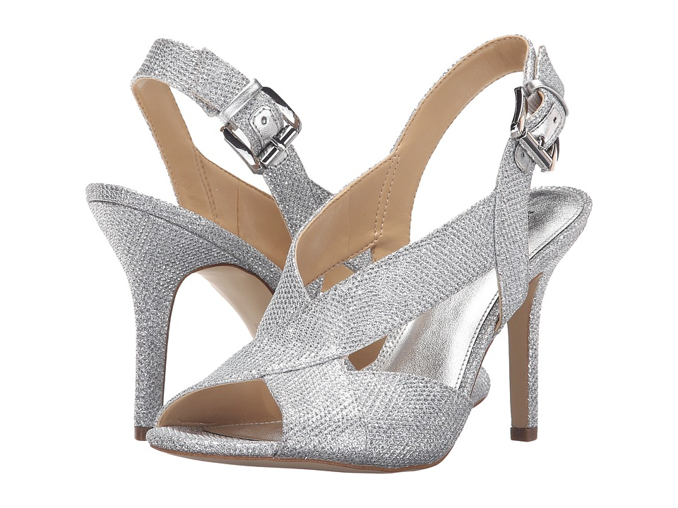 MICHAEL Michael Kors - Becky Sandal (White/Silver/Silver Metallic Lurex) Women's Dress Sandals