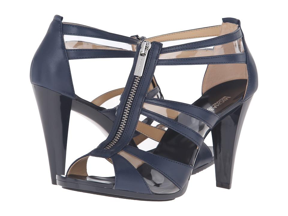 MICHAEL Michael Kors - Berkley T-Strap (Navy Vachetta/Plastic) High Heels