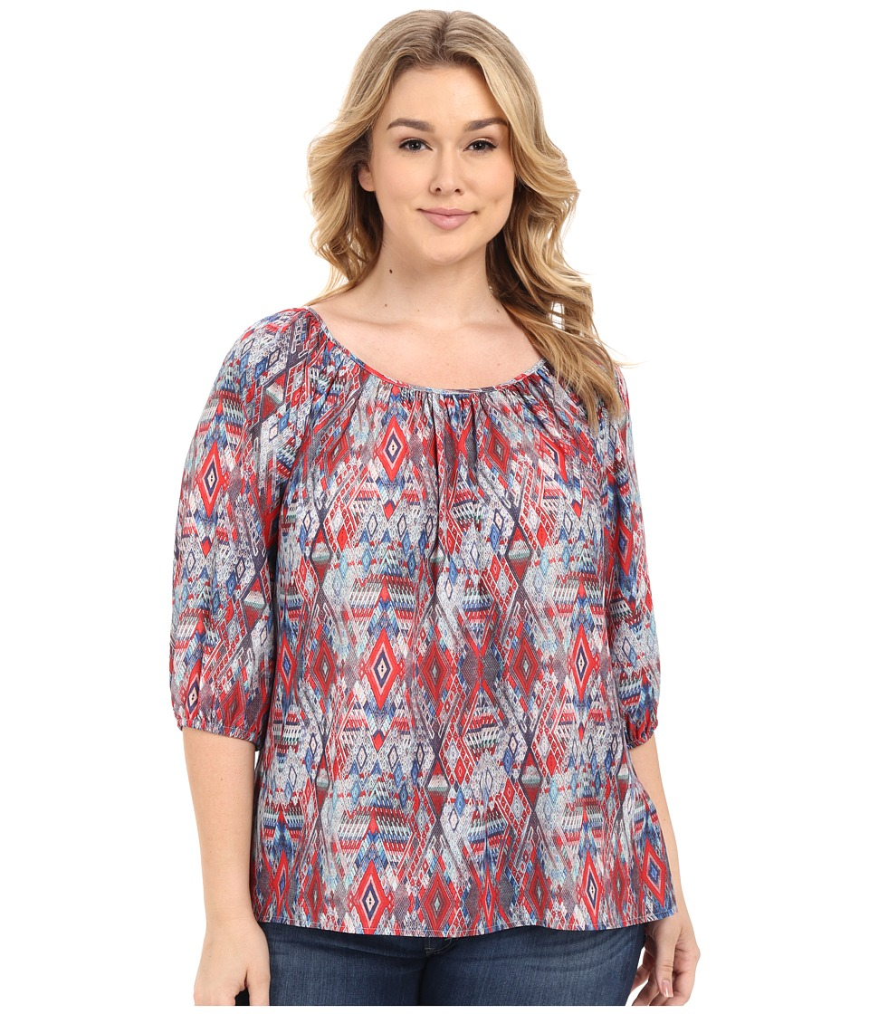 Karen Kane Plus - Plus Size 3/4 Sleeve Hi-Lo Peasant Top (Print) Women's Clothing