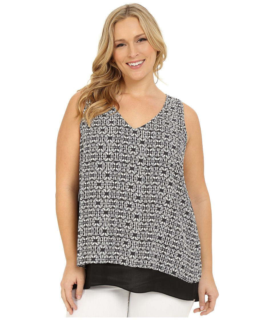 Karen Kane Plus - Plus Size Split-Back Double Layer Tank Top (Print) Women's Sleeveless