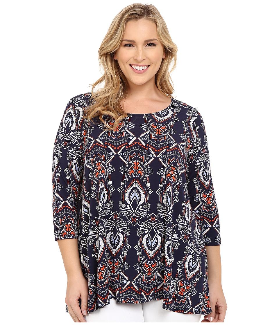 Karen Kane Plus - Plus Size Geo Print 3/4 Sleeve Tunic (Print) Women's Blouse
