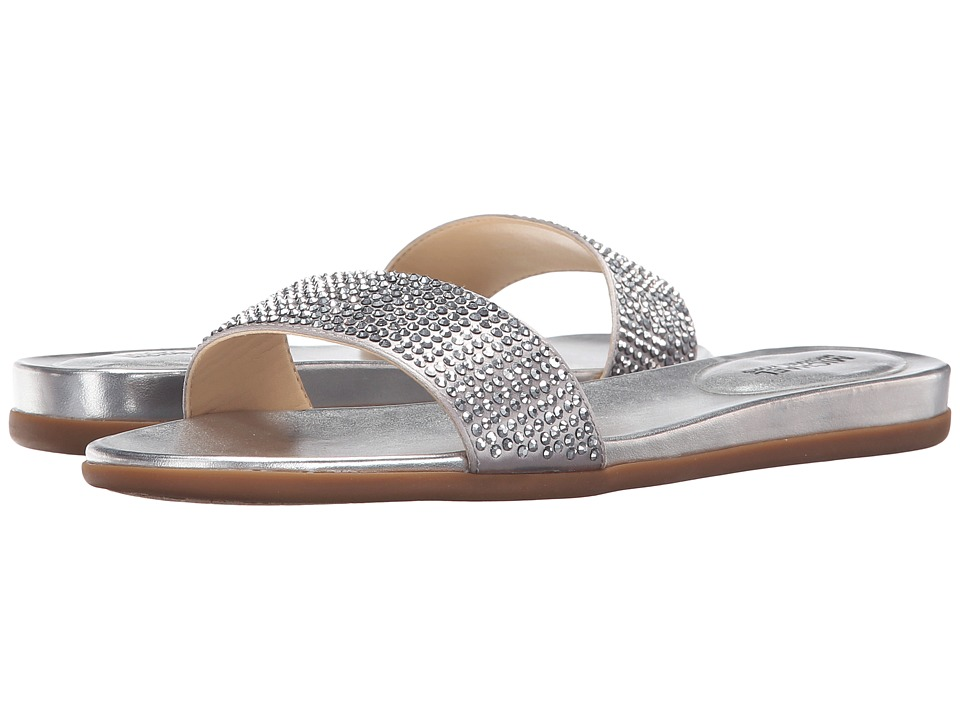 MICHAEL Michael Kors Eleanor Slide (Silver Satin/Metallic Nappa) Women