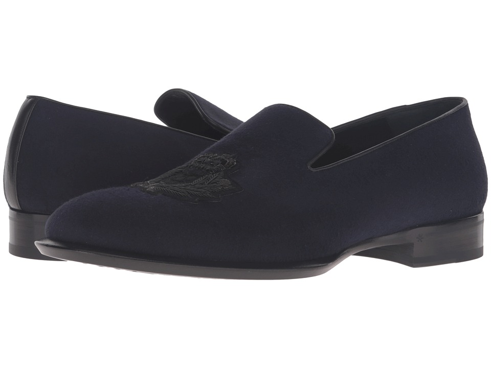 Alexander McQueen - Gable Embroidered Badge Loafer (Navy) Men's Slip on Shoes