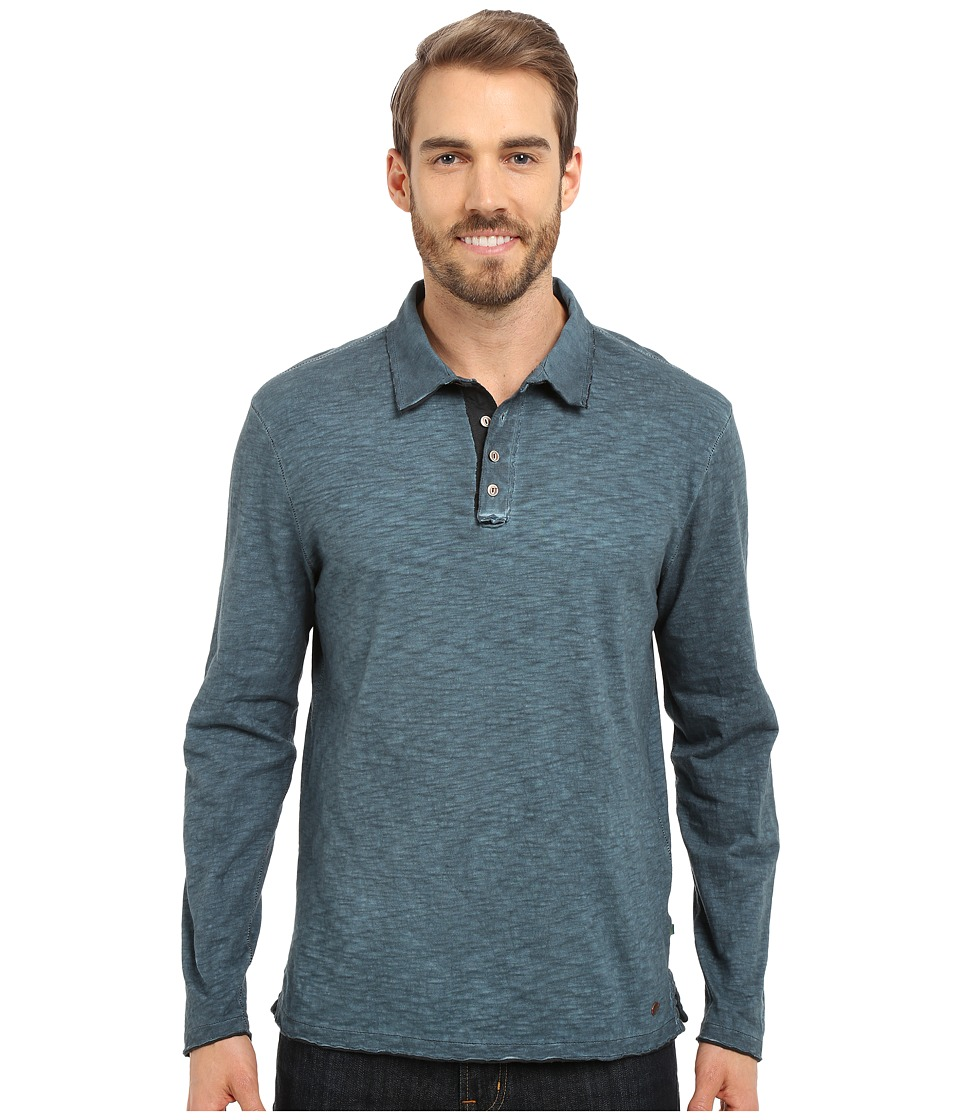 True Grit - Soft Slub Long Sleeve Vintage Polo (Industrial Blue) Men's Long Sleeve Pullover
