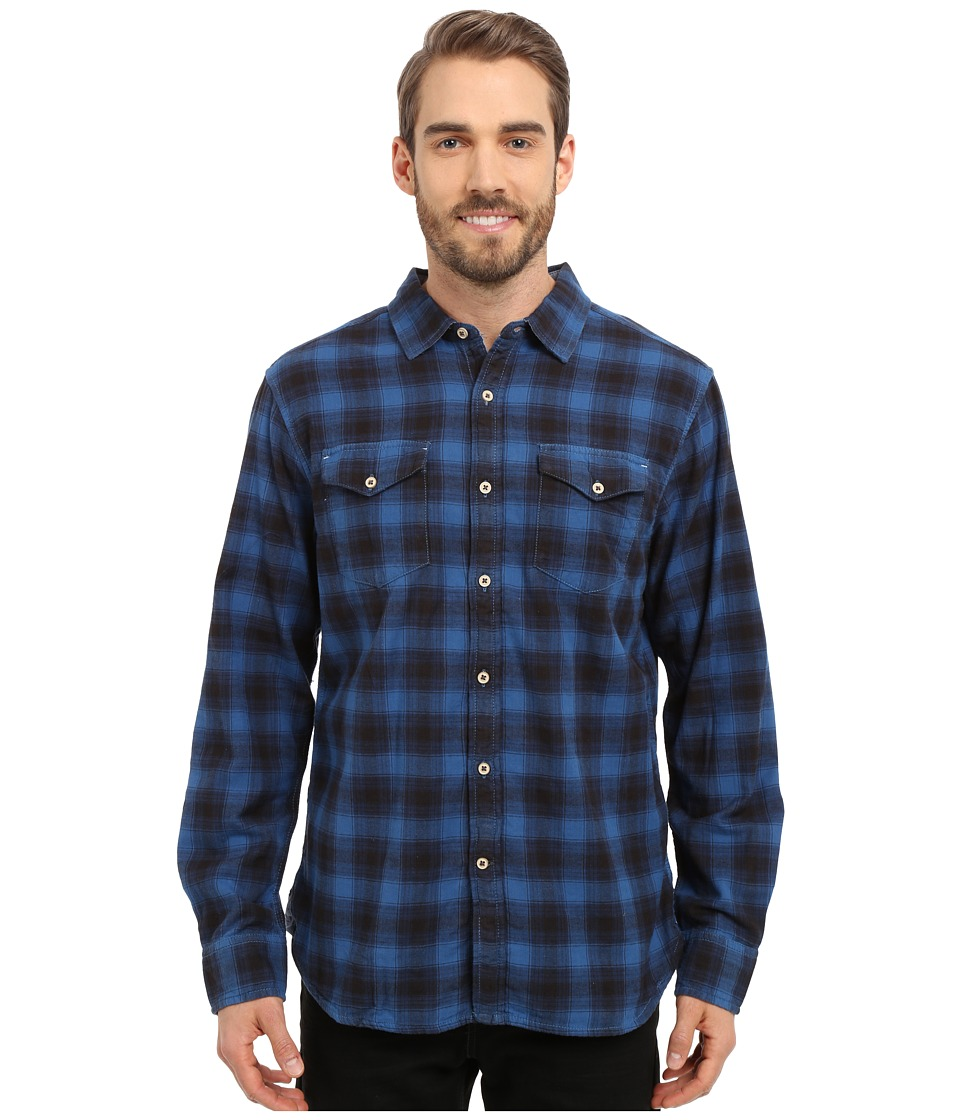 True Grit - Rock Point Plaid Long Sleeve Shirt w/ Chambray Trim (Marine Blue) Men's Clothing