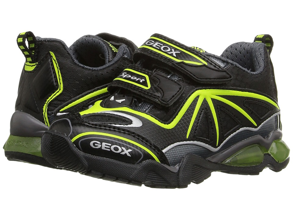 Geox Kids - Jr Light Eclipse 2 BO 2 (Toddler/Little Kid) (Black/Lime) Boy's Shoes