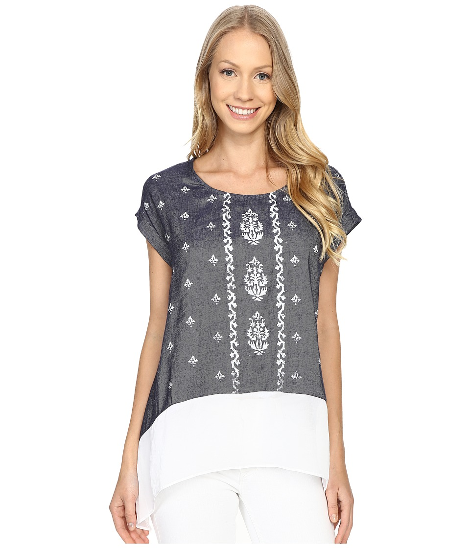 Karen Kane - Sheer Hem Chambray Tee (Chambray) Women's T Shirt