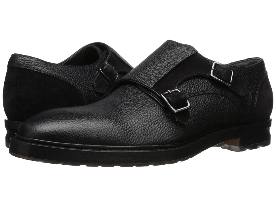 Alexander McQueen - Gable 2 Buckle Monk Oxford (Black) Men's Monkstrap Shoes