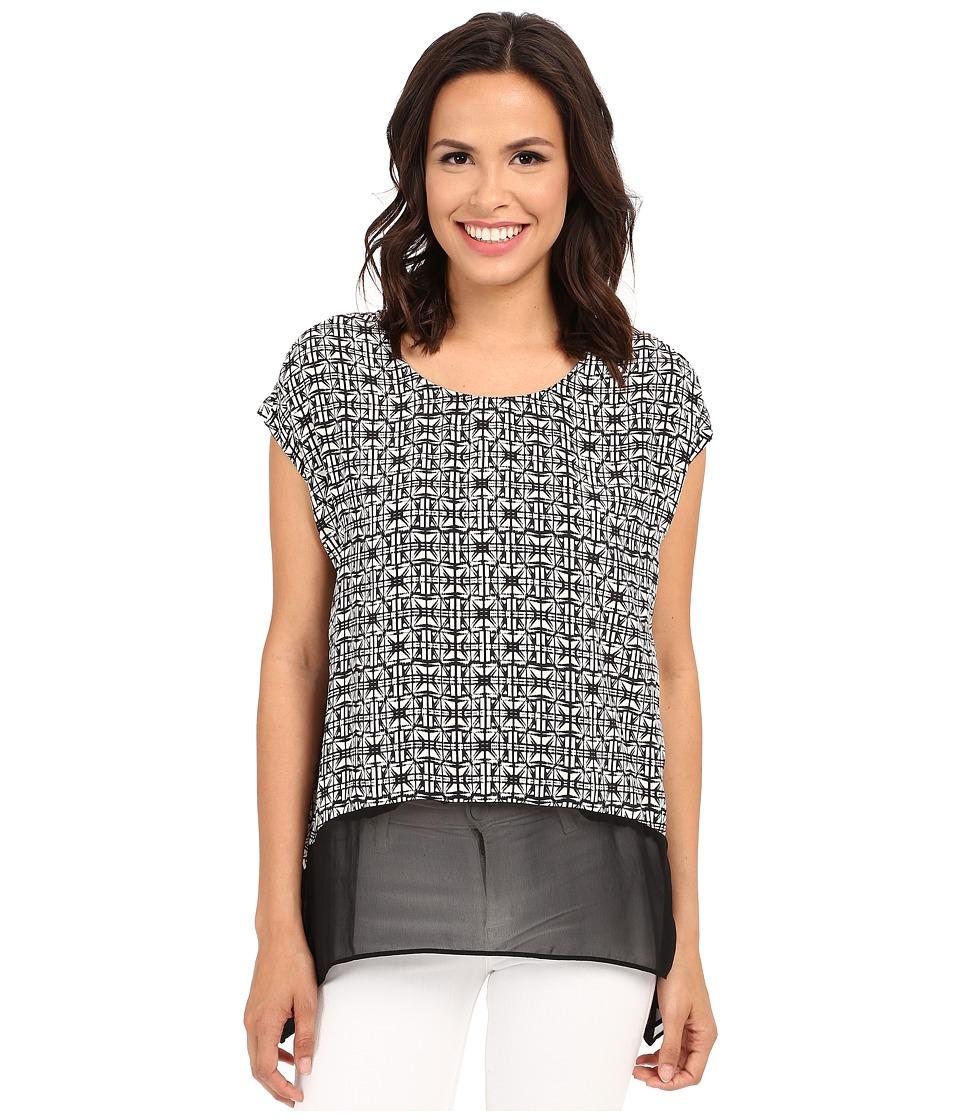 Karen Kane - Sheer Hem Tee (Print) Women's T Shirt