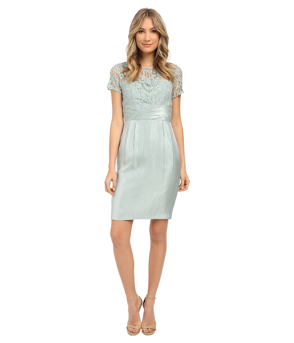 Adrianna Papell - Pleated Origami Bow Waist Sheath Dress (Icy Mint) Women's Dress