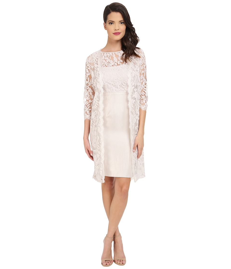 Adrianna Papell - Bow Detail Lace Top Sheath with Long Jacket (Powder) Women's Dress