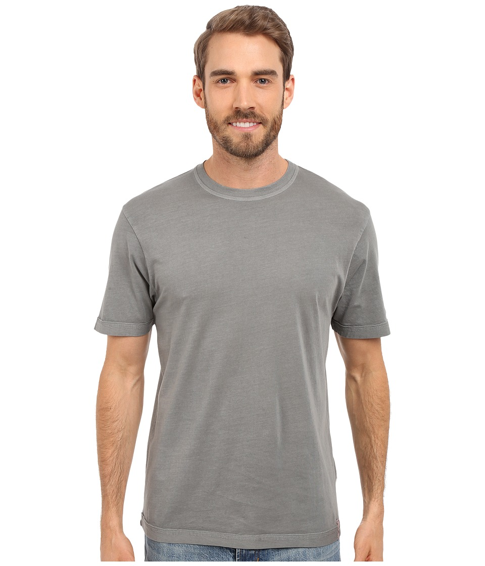 True Grit - Combed Cotton and Vintage Pigment Dyed Short Sleeve Basic Crew Neck Tee w/ Stitch Detail (Vintage Grey) Men's T Shirt