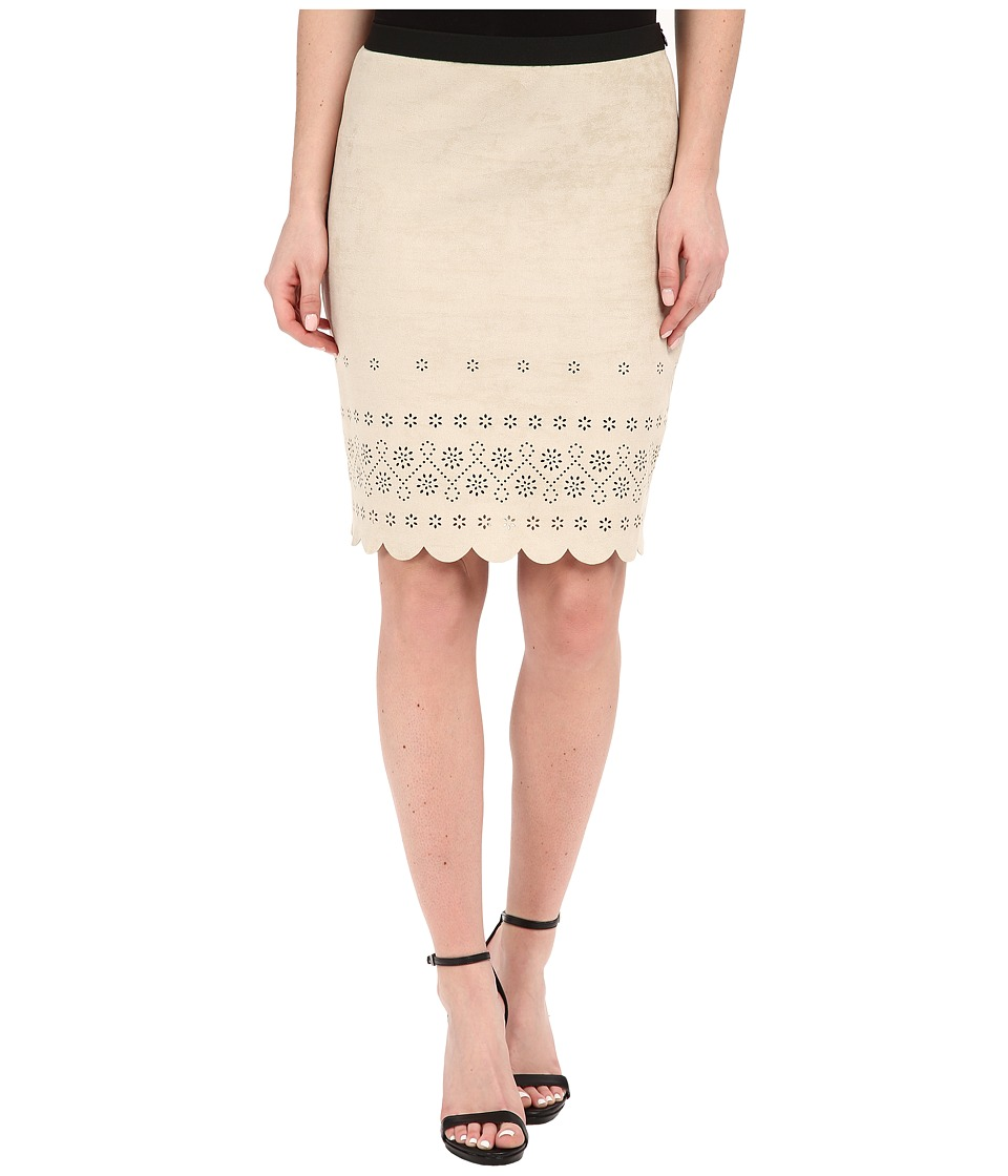 Karen Kane - Scallop Faux Suede Skirt (Khaki) Women's Skirt