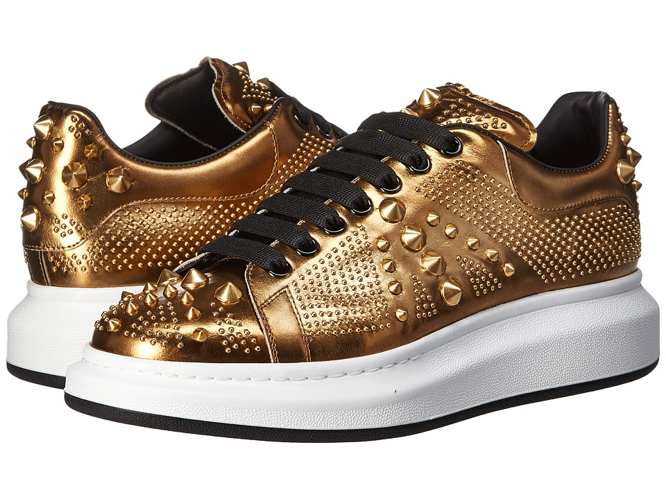 Alexander McQueen - Metallic Mirror Leather Sneaker (Gold) Men's Shoes