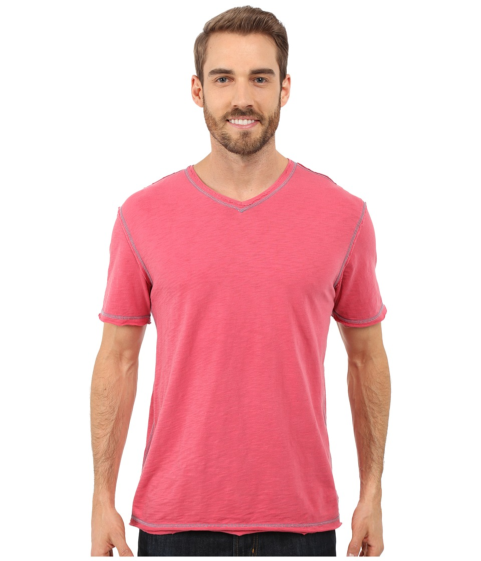 True Grit - Soft Slub Short Sleeve V-Neck Tee w/ Contrast Coverstitch (Vintage Red) Men's T Shirt