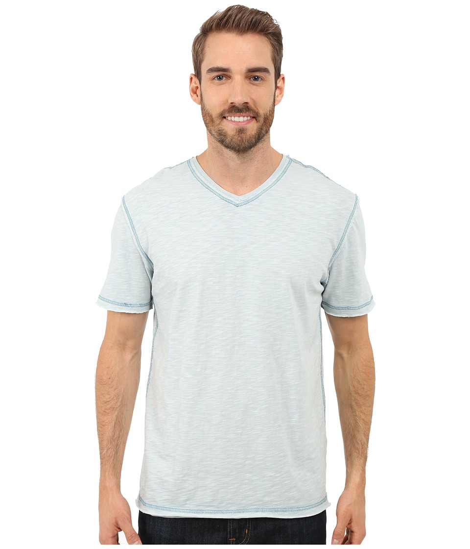 True Grit - Soft Slub Short Sleeve V-Neck Tee w/ Contrast Coverstitch (Pool) Men's T Shirt