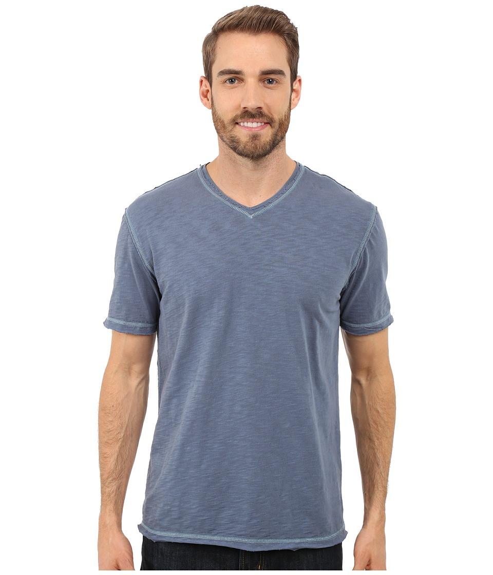 True Grit - Soft Slub Short Sleeve V-Neck Tee w/ Contrast Coverstitch (Vintage Indigo) Men