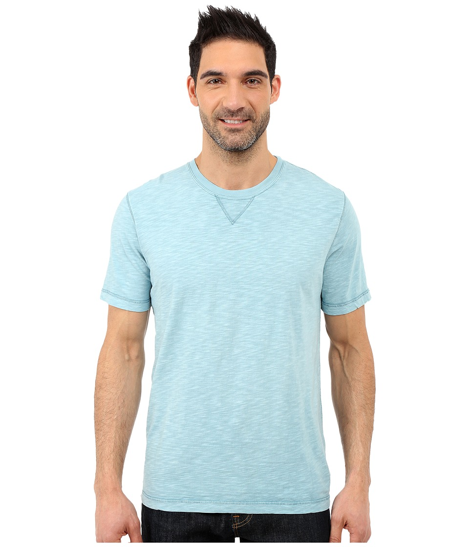 True Grit - Soft Slub Short Sleeve Classic Crew Tee w/ Contrast Coverstitch (Soft Blue) Men's Short Sleeve Pullover