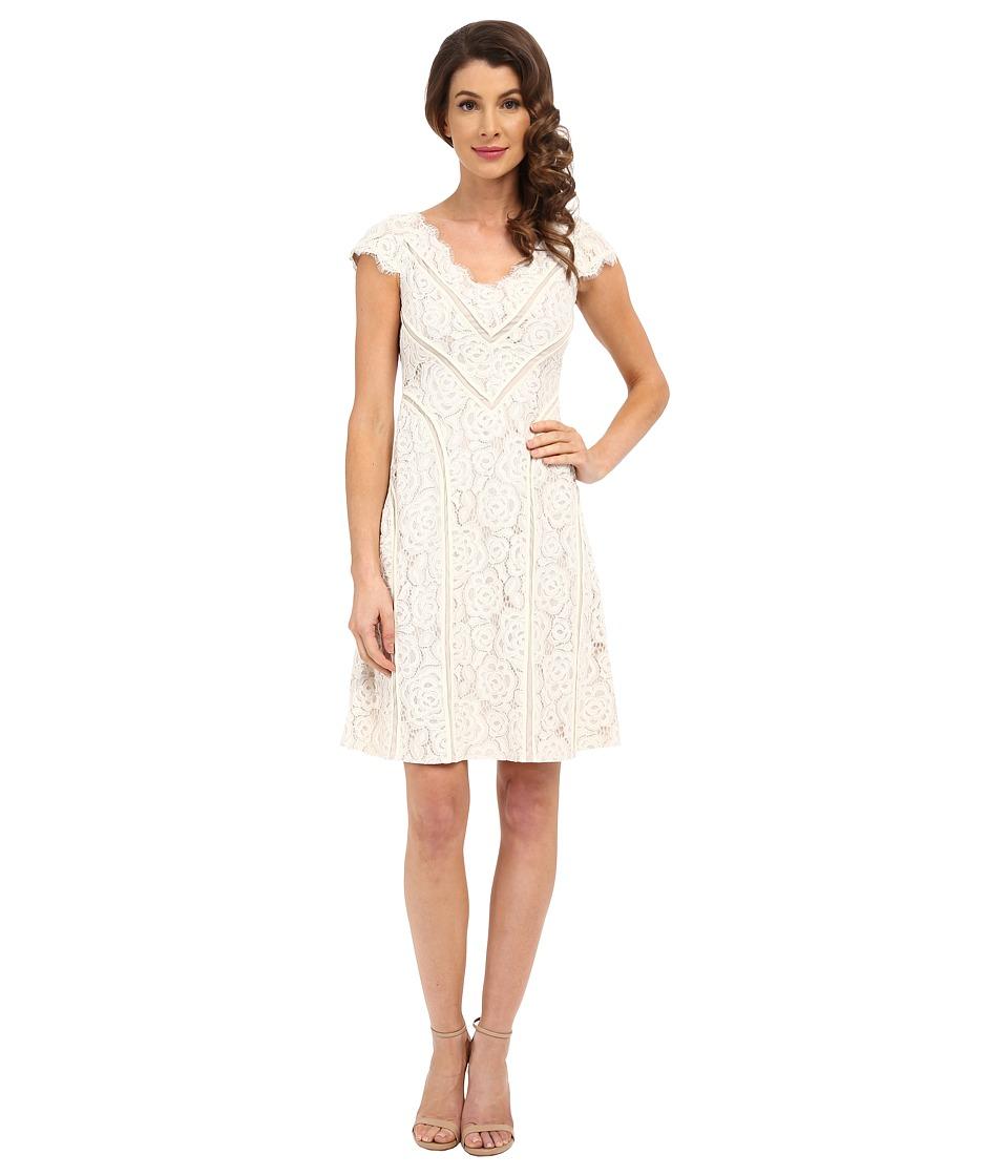 Adrianna Papell - Sweetheart V-Neckline Stripped Dress (Cream/Bisque) Women's Dress