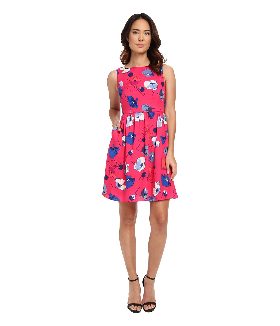 Adrianna Papell - Poppies Printed Fit Flare (Pink Multi) Women's Dress