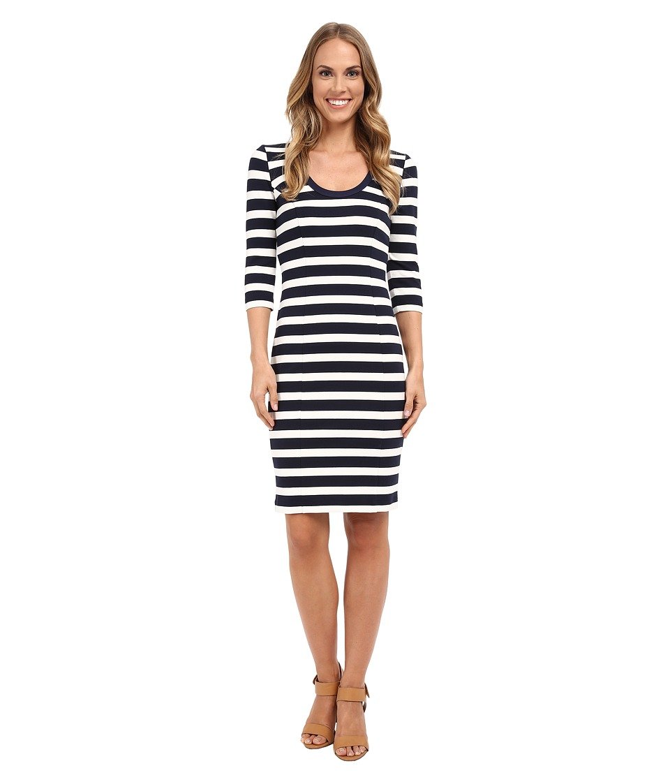 Adrianna Papell - Striped Slim Ponte Dress (Navy/Ivory) Women's Dress