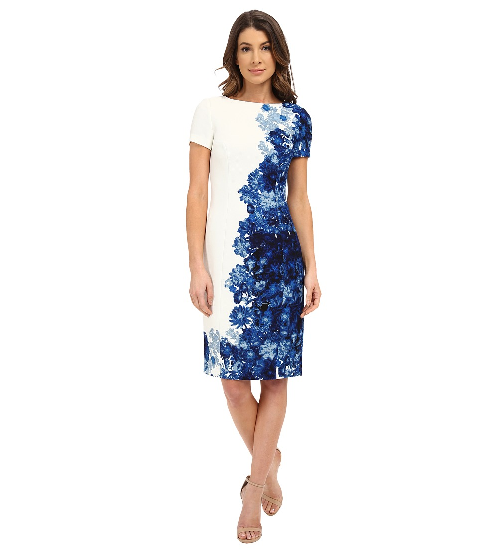 Adrianna Papell - Printed Waffle Pique Fitted Dress (Navy/Ivory) Women's Dress