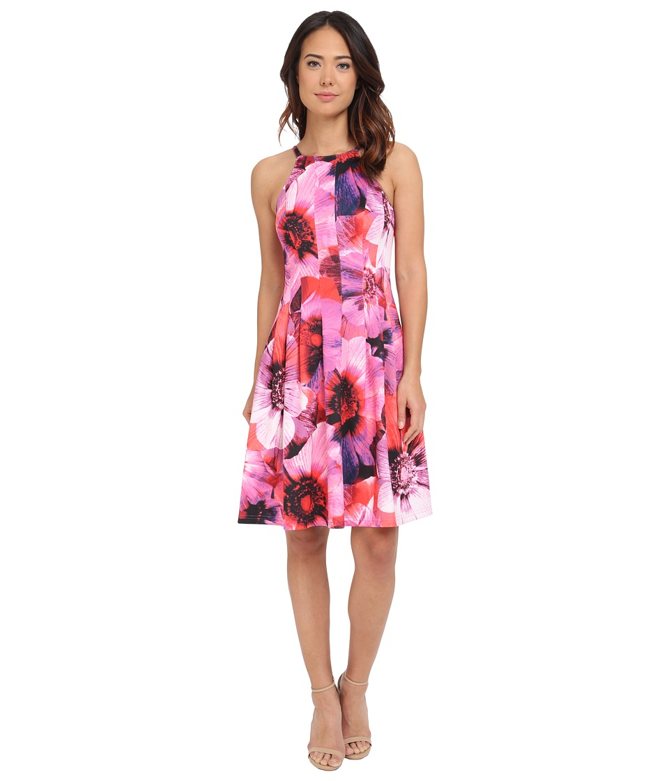 Adrianna Papell - Cutaway Neckline Printed Scuba Fit and Flare (Pink Multi) Women's Dress