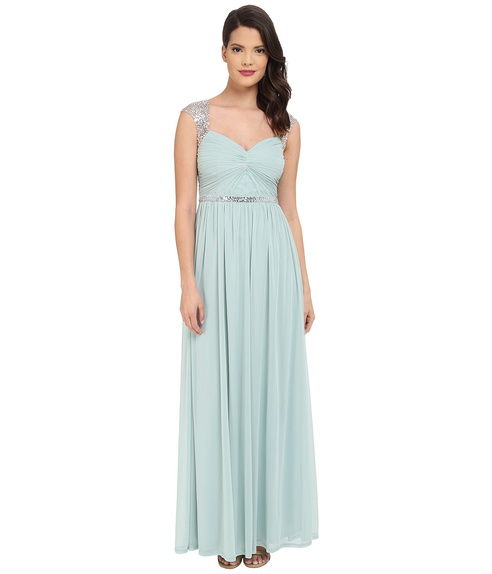 Adrianna Papell - Long Gown with Beading Detail (Seafoam) Women's Dress