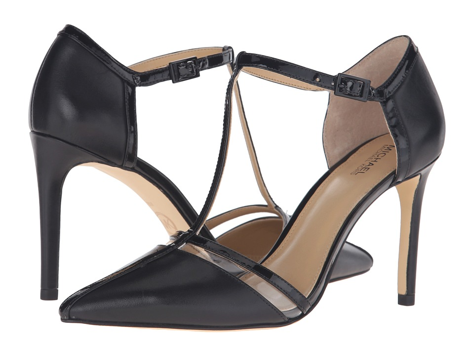 MICHAEL Michael Kors - Samantha T - Strap (Black Smooth Kid/Patent/Plastic) Women's Shoes