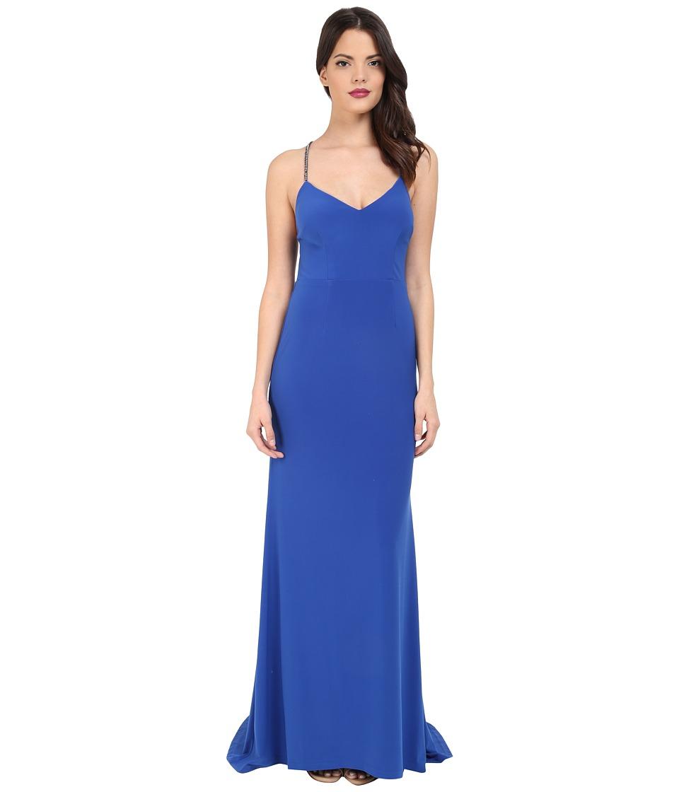 Adrianna Papell Crisscross Back Trim Jersey Mermaid Dress (Royal) Women