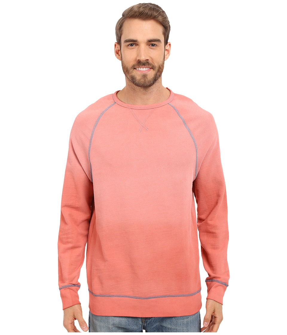 True Grit - Luxe-Soft Indigo Stitch Terry Crew Neck Sweatshirt w/ Vintage Dye (Washed Red) Men