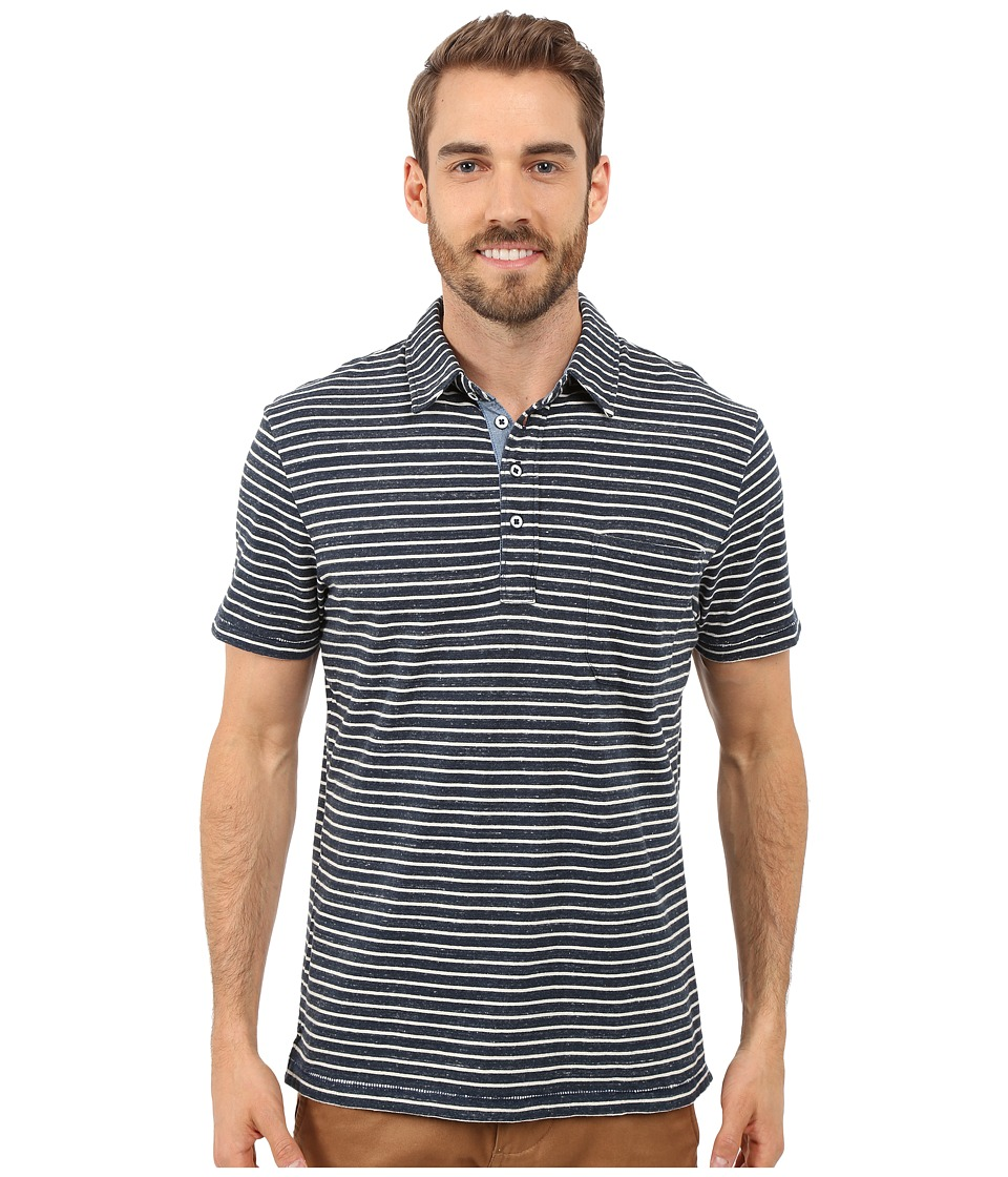 True Grit - Short Sleeve Stripe Polo w/ Pocket Genuine Indigo Knit (Denim) Men's Short Sleeve Knit